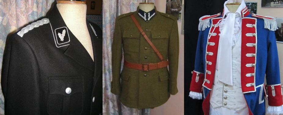 Repliki mundurów wojskowych historycznych i obecnych, bryczesów, ręczne haftowaniedystynkcji